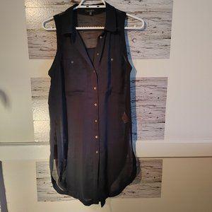 Dynamite Women's XS Black Sheer Sleeveless Tunic